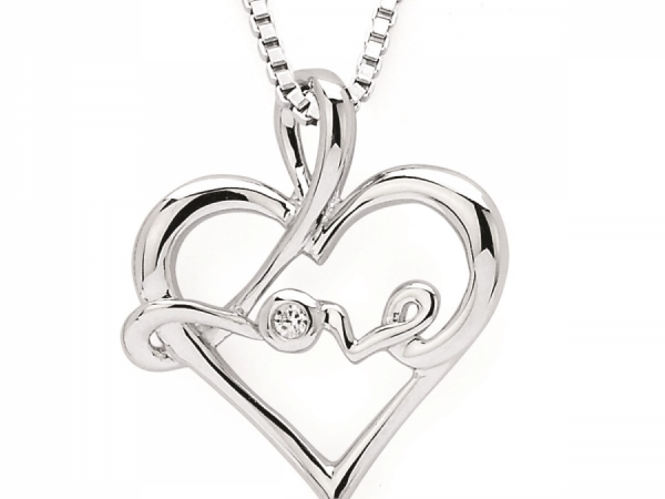 Pendants & Necklaces - SS Diamond Love Pendant